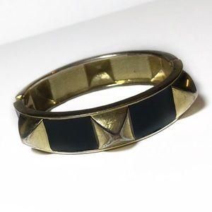 BR Studded Gold Tone & Black Enamel Hinge Bangle
